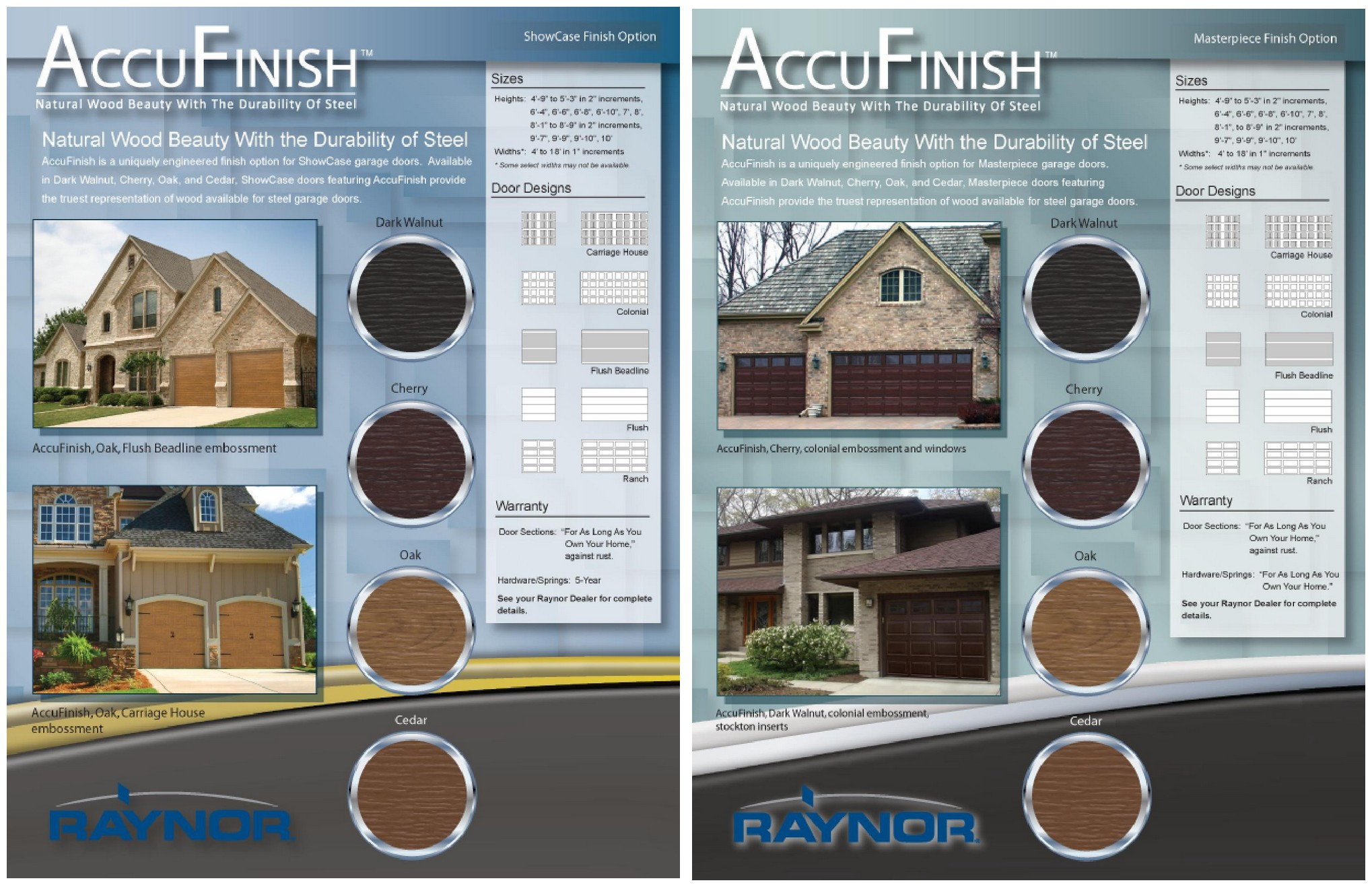 Accufinish Colors for Garage Doors by Raynor